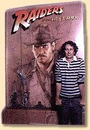 Spielberg in front of Raiders poster